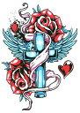(ファンタジー) TheFantasy タトゥーシール タトゥーシール クロス 薔薇 hb135 【中型・A5】