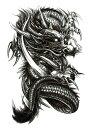 (ファンタジー) TheFantasy タトゥーシール タトゥーシール 龍 ドラゴン hb702【中型・A5】