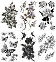 [KING HORSE (キングホース)] タトゥーシール 花 牡丹 月桂 薔薇 椿 蓮[通常サイズ・6種6枚] hm6007
