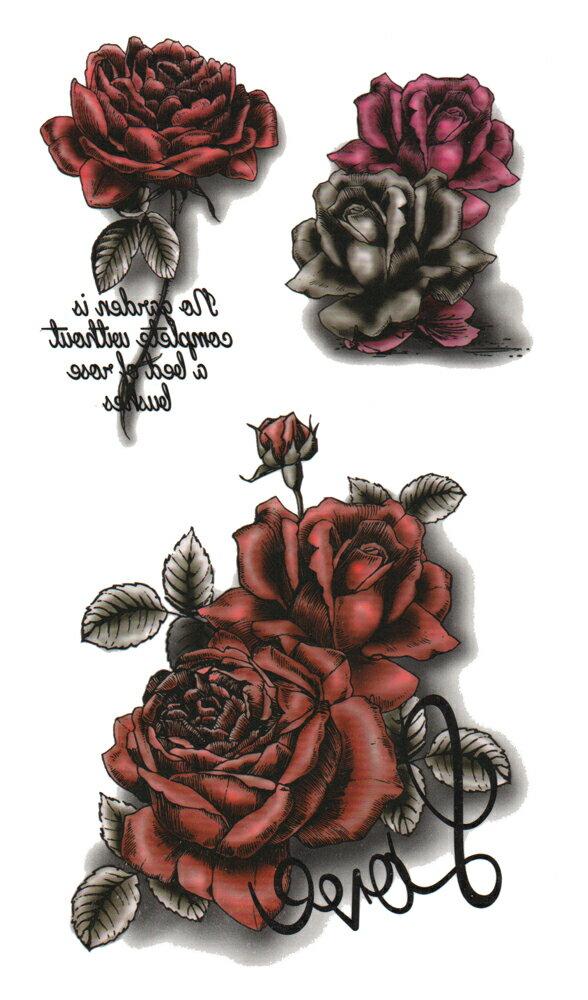(ファンタジー) TheFantasy タトゥーシール タトゥーシール 薔薇 文字 3D hm742 【レギュラー】