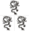 (ファンタジー) TheFantasy 【3枚セット】 タトゥーシール 龍 ドラゴン 肩・胸用 mqc04 【大型・A4】
