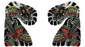 THE FANTASY タトゥーシール [左右2枚セット・A4] 龍 ドラゴン 肩・胸用 大型 mqc18s