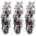 (ファンタジー) TheFantasy タトゥーシール タトゥーシール 肩から手首 髑髏 薔薇 tqb006【特長・3枚セット】
