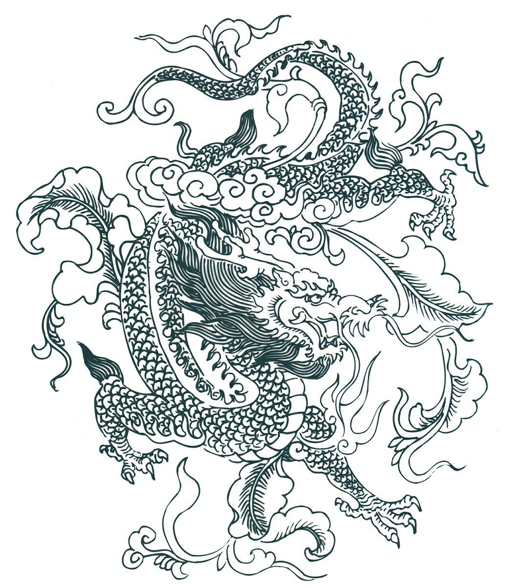 (ファンタジー) TheFantasy タトゥーシール タトゥーシール 龍 ドラゴン wqa04 【大型・A4】