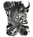 (ファンタジー) TheFantasy タトゥーシール タトゥーシール 錦鯉 波 wqa32 【大型・A4】