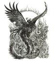 タトゥーシールタトゥーシール大型火の鳥鳳凰/wqa39