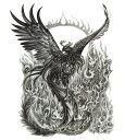 (ファンタジー) TheFantasy タトゥーシール タトゥーシール 火の鳥 鳳凰 wqa39 【大型・A4】