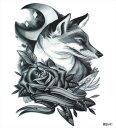 (ファンタジー) TheFantasy タトゥーシール タトゥーシール 柴犬? 薔薇 wqa41 【大型・A4】
