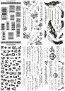 [THE FANTASY ファンタジー] タトゥーシール バーコード 英文字 蝶 [通常サイズ・6種6枚] ymp6001
