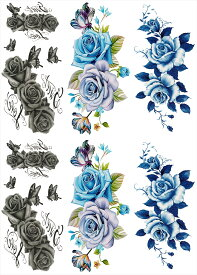 [THE FANTASY ファンタジー] タトゥーシール 薔薇 花 [通常サイズ・3種6枚] ymp6006