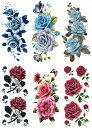 [THE FANTASY ファンタジー] タトゥーシール 薔薇 花 蓮 [通常サイズ・6種6枚] ymp6008