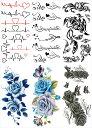 [THE FANTASY ファンタジー] タトゥーシール ハート 英文字 薔薇 鳳凰 [通常サイズ・6種6枚] ymp6012