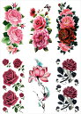 [THE FANTASY ファンタジー] タトゥーシール 薔薇 牡丹 蓮 [通常サイズ・6種6枚] ymp6016