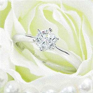 ダイヤモンド婚約指輪 サイズ直し一回無料 0.5ct E VVS2 EXCELLENT シンプル6本爪 プラチナ Pt900 婚約指輪(エンゲージリング)