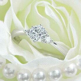 ダイヤモンド婚約指輪 サイズ直し一回無料 0.4ct D VVS1 EXCELLENT 両サイドメレ6本爪 プラチナ Pt900 婚約指輪(エンゲージリング)