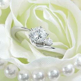 ダイヤモンド婚約指輪 サイズ直し一回無料 0.3ct D VS1 VERY-GOOD アンシンメトリーライン6本爪D1 プラチナ Pt900 婚約指輪(エンゲージリング)