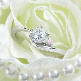 ダイヤモンド婚約指輪 サイズ直し一回無料 0.5ct F VVS2 EXCELLENT アンシンメトリーライン6本爪ピンクD1 プラチナ Pt900 婚約指輪(エンゲージリング)