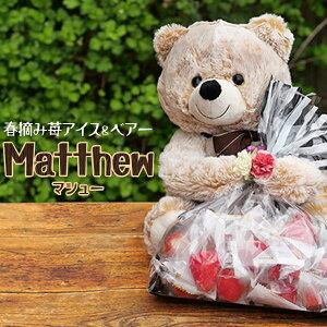 父の日ギフト 父の日 食べ物 スイーツ 2021 おしゃれ 送料無料 ギフト プレゼント ラッピング 誕生日 バースデー ぬいぐるみ 春摘み苺アイス ベアー 「Matthew」 結婚式 内祝い 出産 誕生日 熊