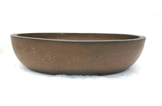 Bonsai ◆ old PEAR Peel red mud off vertical ellipse ◆ oval Bowl
