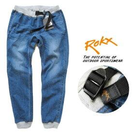 ROKX /ロックス【エムジーデニムウッドパンツ】MG DENIM WOOD PANT リブクライミングパンツ RXMS191023 ミッドユーズドウォッシュ