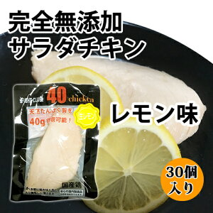 送料無料 無添加 サラダチキン レモン味 国産鶏 国内製造 全6味 40chicken (30個入り) フォーティーチキン 筋トレ 減量 トレーニング 筋肉 胸肉 常温保存 ダイエット
