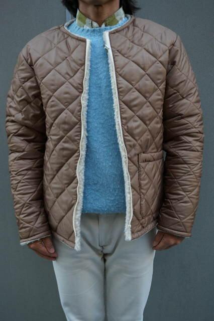 『BEAVER』(ビーバー)ナイロン/フリース リバーシブル ノーカラー ジャケット MADE IN ENGLAND