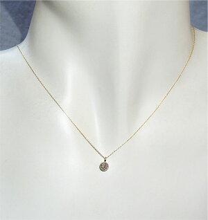 18金ピンクダイヤモンドシンプルクロスペンダントネックレス0.2ctプチペンダント普段使い普段づかい母の日プレゼントギフト送料無料
