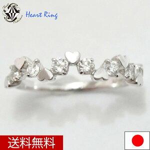 ピンキーリングラウンドサークル型リングダイヤモンド0.05ctK18WG指輪天然シンプル5号【楽ギフ_包装】