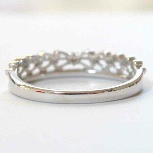 K18ダイヤモンドリングリボンデザイン0.1ctホワイトゴールドWG指輪天然シンプル11号【楽ギフ_包装】