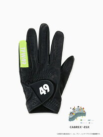 【TFW49 ティーエフダブリュー】GLOVE ゴルフグローブ メンズ ブラック グリーン レザー レザー 本革 機能性 ワンポイント ロゴ【T132112002】