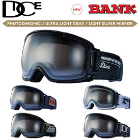 NEW 21-22 DICE ゴーグル ダイス BANK バンク BK14570 [PHOTOCHROMIC /ULTRA LIGHT GRAY / LIGHT SILVER MIRROR] 調光レンズ JAPANFIT スノーボード