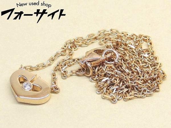 新品同様 Cartier カルティエ■K18 PG ピンクゴールド ハート 1P ダイヤ ペンダント ネックレス□29S