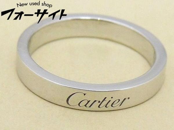 新品同様品 保証書有り #8(48)Cartier カルティエ☆Pt950 エングレーブド リング 指輪∞プラチナ 29S