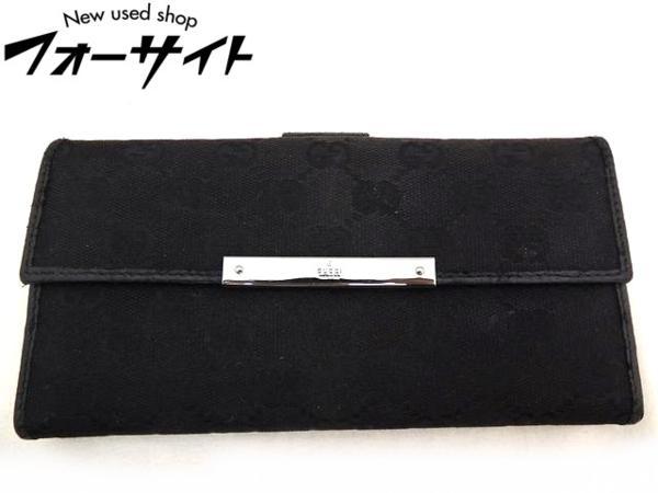 GUCCI グッチ■112715 GG柄 キャンバス ブラック 黒 シルバー金具 財布□29S