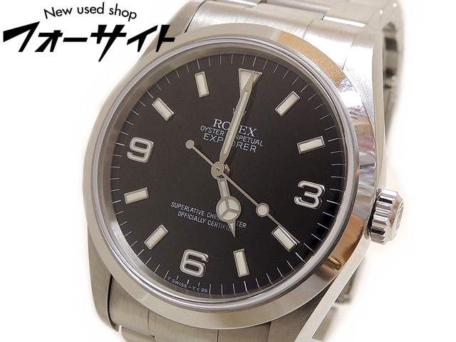 美品 ROLEX ロレックス■14270 U番 エクスプローラーI ステンレス ブラック 文字盤 自動巻き メンズ 時計□30C