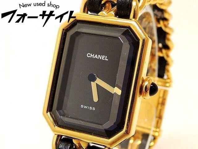CHANEL シャネル■プルミエール Mサイズ ゴールドカラー×ブラック クォーツ レディース 時計□30B