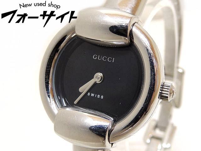 GUCCI グッチ■1400L バングル ウォッチ ステンレス ブラック 文字盤 レディース クォーツ 時計□30C