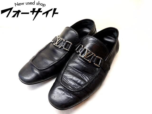 Louis Vuitton ヴィトン■(5 M 24.5cm) LV シルバー金具 ブラック レザー メンズ ローファー 靴□30C