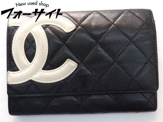 シャネル■カンボンライン コンパクト ウォレット 財布 レザー ブラック×ホワイト∞ココマーク レディース CHANEL 30C