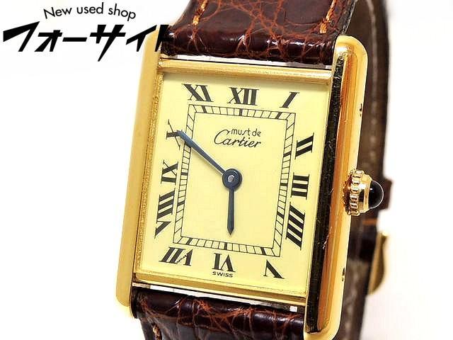 まだ美品♪カルティエ■タンク ヴェルメイユ クォーツ ボーイズ SV925にゴールドメッキ□革ベルト 時計 Cartier 30C