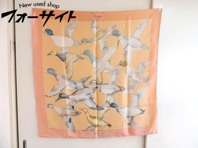 HERMES エルメス■カレ 90 Sauvagine en Vol 風を渡る鳥 オレンジ ピンク シルク スカーフ□30D