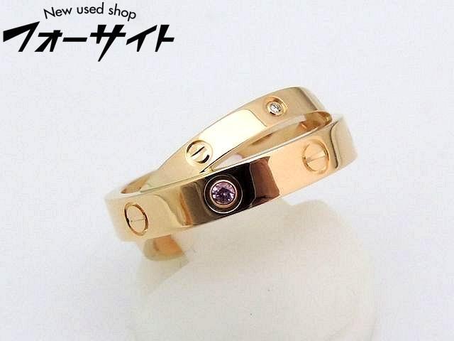 新品同様 カルティエ■8号(48)ダブル ラブリング ピンクサファイア・ダイヤ B4209700□レディース 指輪 K18ピンクゴールド Cartier 30D