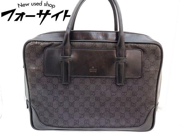 グッチ■101666 ブリーフケース ハンドバッグ キャンバス×レザー□ブラック メンズ 書類 ビジネス Gucci 30D