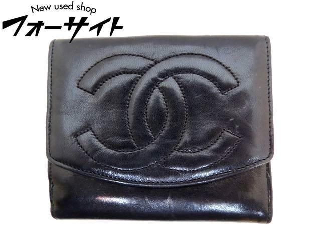 シャネル■ヴィンテージ ラムスキン レザー コンパクトウォレット Wホック 財布∞黒・ブラック レディース CHANEL 30D
