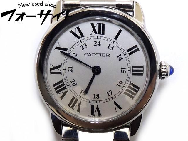 まだ美品 カルティエ■ロンドソロ SM 29MM W6701004 レディース クォーツ 時計 ステンレス∞Cartier 30D