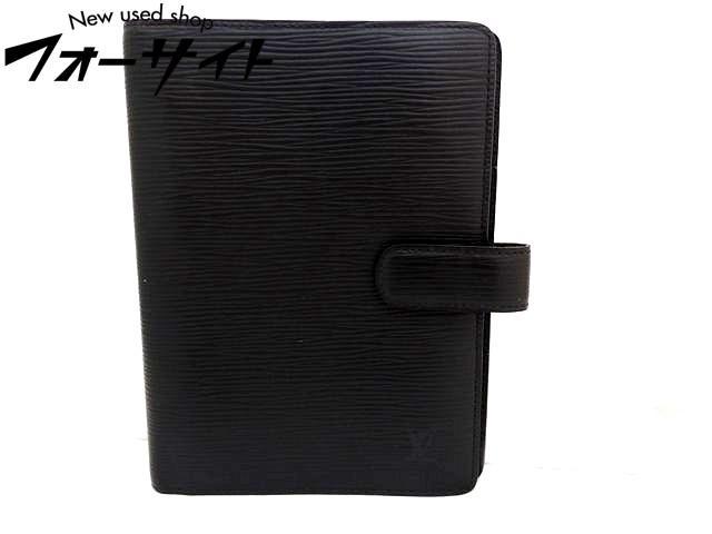 Louis Vuitton ヴィトン■R20042 アジェンダMM エピ ノワール 手帳カバー ※内側ハガレあり□30D