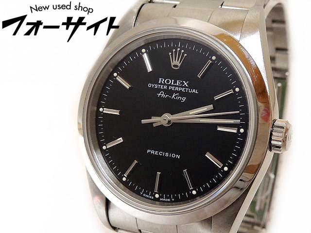 美品 ROLEX ロレックス☆14000 T番 Air king エアキング ステンレス ブラック 文字盤 自動巻き メンズ 時計□30D