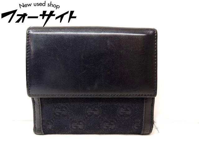GUCCI グッチ☆159917 GGシマレザー ブラック×ゴールド金具 Wホック 折り財布□レディース 29K 30S