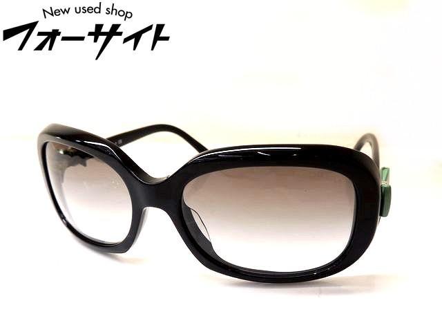 美品 CHANEL シャネル■5170-A サイド グリーン ココマーク リボン ブラック フレーム グレー グラデーション レンズ サングラス□30E