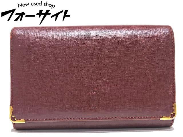 Cartier カルティエ◇L3000223 ボルドー系 レザー L字ファスナー 折り財布▼レディース 30C